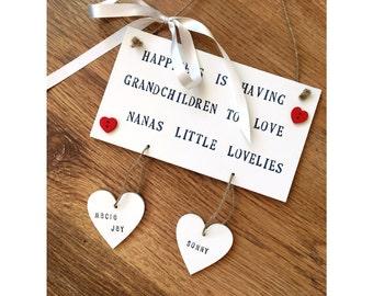 Grandchildren Sign / Nana / Grandma / Nana and Granda's house / Hanging hearts sign / Mothers day gift for nana