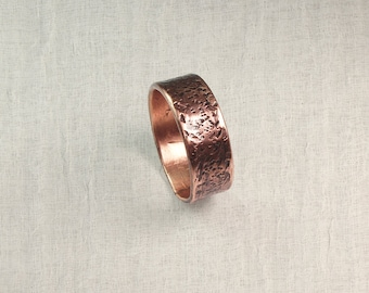 Hammered copper ring, Air chased jewelry, Forged copper ring, Patina copper ring, pure copper ring, Copper Health ring, Beaten copper ring