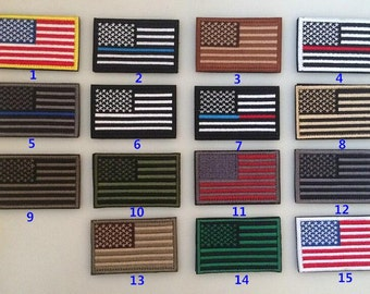 1piece 3.2*2inches Tactical USA Flag Velcro Patches,Appliques,American Flag Embroidered Patch USA United States Military Uniform Emblem