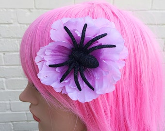 Unusual Goth Burlesque Lilac Purple Anemone Glitter Spider Pin Up Flower Fascinator Hair Accessory Clip