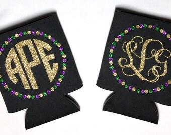 Mardi Gras Glitter Monogram Can Cooler
