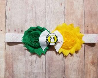 university of Oregon headband-Oregon headband-oregon Ducks for baby girl-Oregon headband for infant-Oregon for toddler