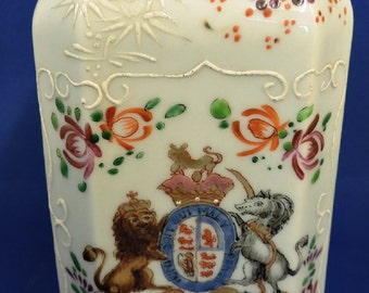 Rare C19th Queen Victoria's Japanese Moriage Porcelain Tea Caddy with  Royal Coat of Arms
