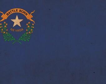 Vintage Nevada flag on canvas, Nevada, Flag, Wall Art, Nevada Photo, Nevada flag on canvas,  Single or Multiple Panels Nevada flag