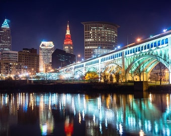 Cleveland at night, Cleveland Canvas, Cleveland skyline, Cleveland Wall canvas, 3 panel or single panel Cleveland wall art, Cleveland canvas