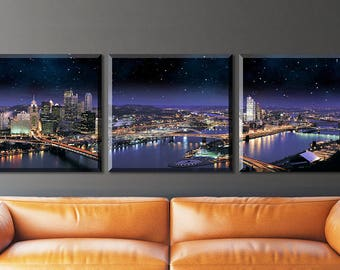 Pittsburgh skyline, Wall canvas, 3 panels canvas Pittsburgh  photo, Pittsburgh skyline  at night city, Pittsburgh art, Pittsburgh home decor