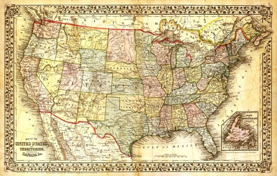 Vintage World US Maps Capital Canvas Prints - Us map canvas wall art