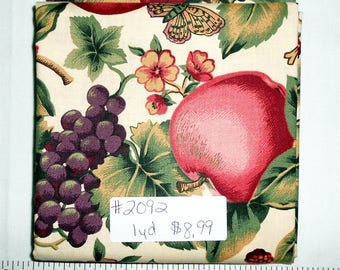 Fabric - 1yd piece-Floral/Fruit/Cherries/Grapes/Apples/Butterfly/Fall Leaf Floral -Cambridge (#2092) VIP Cranston