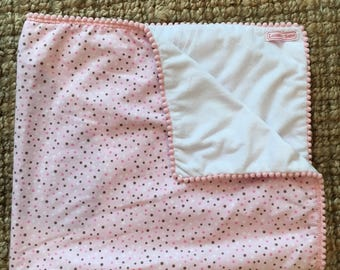 Pink polkadot baby blanket with trim