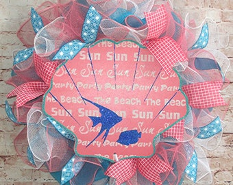 Free Shipping! Summer Seashell, Sun, Fish, Beach, Wreath in Coral and Teal