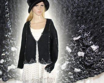 Hand knitted handmade vintage style wool mohair Cardigan Bolero Gr. 44 46 L XL