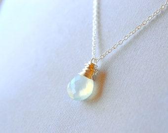 Mint Gemstone Necklace, Aqua Chalcedony, Sterling Silver Wire Wrap Briolette Pendant, Pale Mint Jewelry, Pastel Stone Blue Green Gem