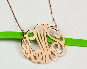 Monogram Necklace, Rose Gold Monogram Jewelry, Script Monogram Necklace, Personalized Initial Necklace, Letter Monogram Necklace, Initial