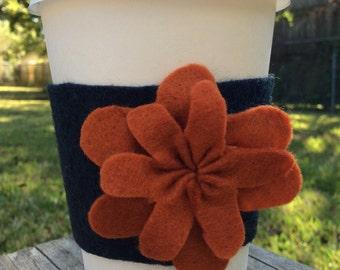 Coffee Cozy - Black, Coffee Sleeve - Black, Cream Felt Coffee Cozy, Felt Tea Cozy, Flower Coffee Cozy, Fall Coffee Cozy, Autumn Coffee Cozy