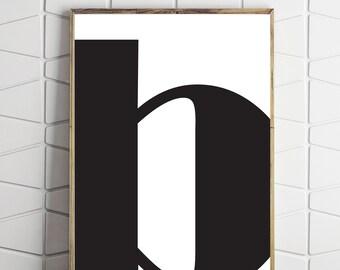 B modern letter, letter printable, letter art, letter decor, letter download, letter digital