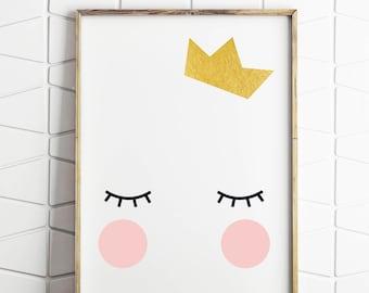 crown royal, gold crown, birthday crown, queen bee art, girls room decor, digital downloads, kawaii queen, sleepy eyes