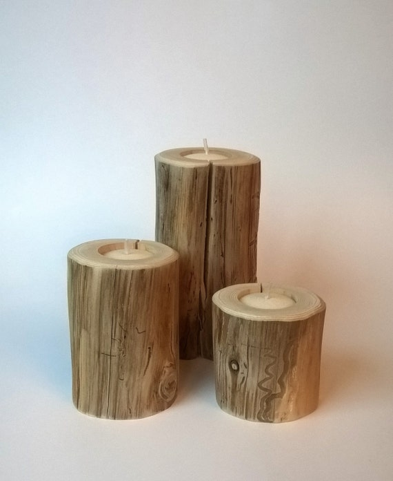 Rustic wood tea light candle holder set cedar tree branch for Rustic wood candle holders