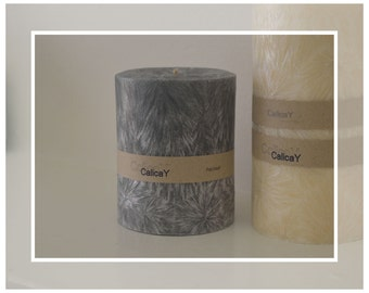 Hand Poured Crystal Wax Pillar Candle 9.5cm -  Patchouli Scented