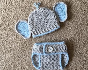 Newborn Elephant Outfit, Crochet Newborn Elephant Outfit, Crochet Baby Elephant Outfit, Newborn Crochet Outfit