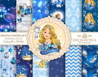 Winter Digital Paper, Digital Paper Winter, Winter Digital Paper, New Year Digital Paper, Winter Wonderland Digital Paper Snowflake Patterns