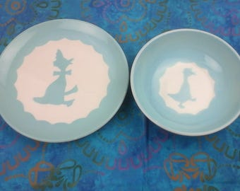 Child, vintage,  plate and bowl set.