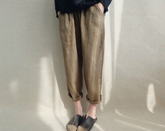Women Loose Casual Harem Pants Linen Trousers Legging Cropped Pants