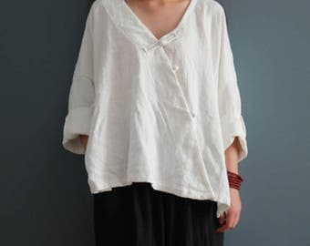 Women Loose Linen Blouse, Plus Size Clothing, Linen Shirt, Spring Clothing, Simple Linen Tops
