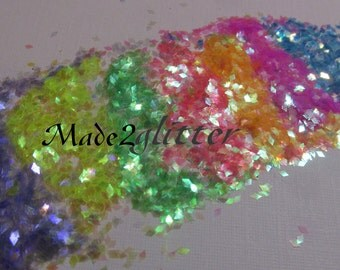 Neon Iridescent Rhombus in 1mm sample pack nail art and craft glitter shapes