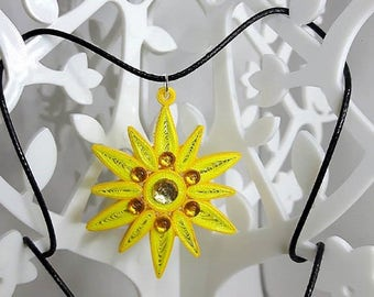 Necklace Yellow Sun in quilling