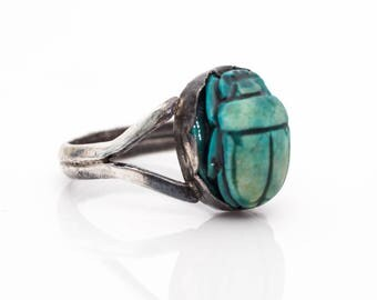 1940s Turquoise Carved Scarab Beetle Sterling Silver Retro Vintage Ring, VJ #956