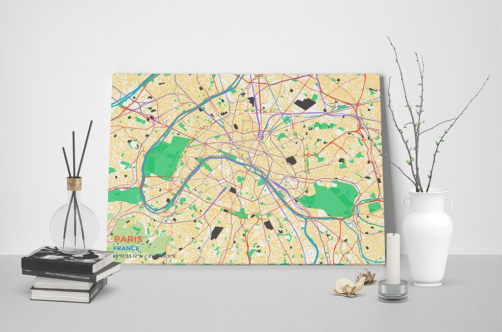 Gallery Wrapped Map Canvas Of Paris France Subtle Colorful: Paris Map Canvas At Infoasik.co