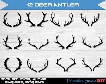 12 Deer Antler - svg cuttable Cricut Design Space Silhouette Digital Cut Files Instant Download, dxf studio3 png pdf deer svg