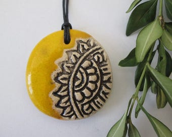 yellow pendant, ceramic pendant necklace, ethnic ceramic necklace, pottery handmade, bohemian pendant, ceramic jewelry, gift for girl