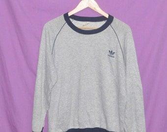 Vintage 90s Adidas Trefoil Small Logo Sweatshirt Sweater Medium Size