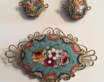 Italian Glass Cloisonné Brooch and Clip Earring Set