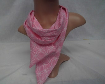 Pink and white cotton scarf