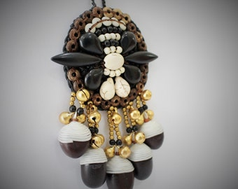 Unique Makha Seeds Long Pendant Necklace, Boho & Folk Style Long Necklace, Knitted Necklace, Women Statement Necklace #11