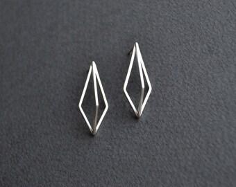 3D Kite Ear Studs   Sterling Silver Geometric Earrings   3D Geometric Earrings
