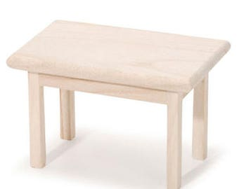 Unfinished Wood Rectangular Table