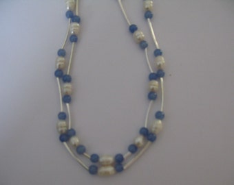 blue double strand necklace