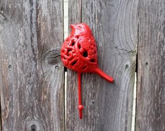 SALE- Red Bird Hook Cast Iron/wall hook/Home Decor/Kitchen Decor