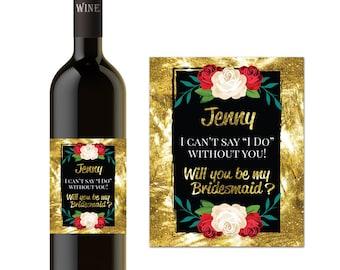 Custom Bridesmaid Proposal Gift - Custom Maid of Honor Proposal- Wine Bottle Labels for Wedding- WEDDING WINE
