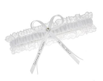 White lace garter - customised bridal garter