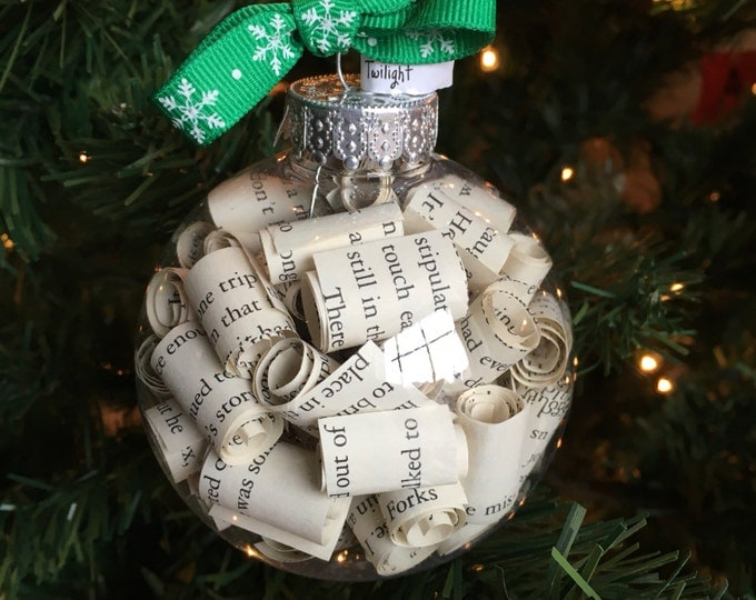 Twilight Stephanie Meyer Book Page Christmas Ornament