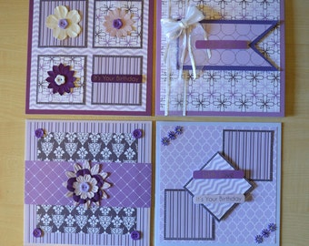 Set of four handmade birthday and other occasion cards