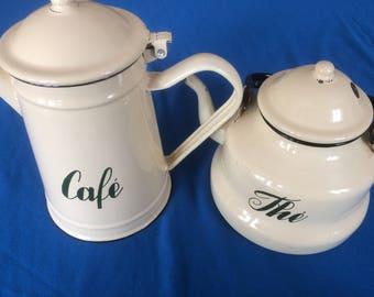 Vintage French Enamel Coffee pot and tea pot