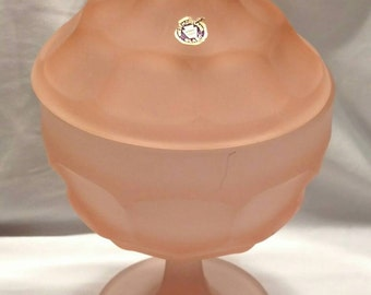 Pink Mist / Satin Candy Dish / Compote with Lid in the Ashburton Pattern by Westmoreland Glass