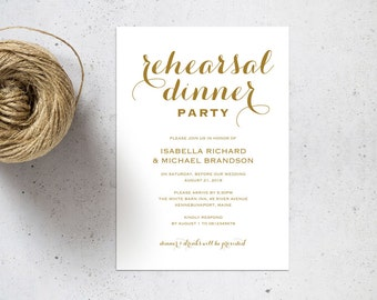Gold Rehearsal Dinner invitation template, rehearsal printable, invitation templates, wedding rehearsal, pdf instant download, WPC_133