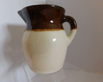 Vintage Robinson Ransbottom brown and cream stoneware pitcher / Pottery Pitcher, R.R.P Co. Ohio Glazed Clay Pottery pitcher, crock pitcher