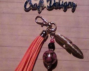 Feather Tassel keychain/zipper pull